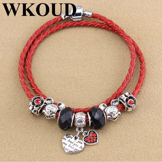 2018 diy brand design crystal beaded charm bracelet pendant lucky 2018 diy brand design crystal beaded charm bracelet pendant lucky red rope leather rope hand charm mozeypictures Images