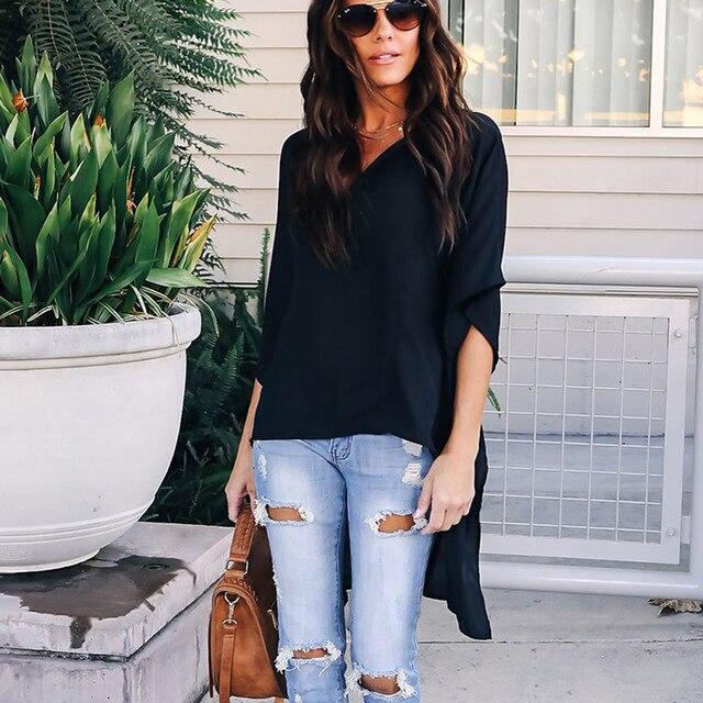 2019 Women Blouses Elegant Fashion Irregular V-Neck Women Chiffon Blouses Soft Tunic Solid Batwing Sleeve Tops Female Shirts 35 1