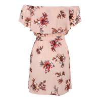 TFGS Women Boho Off The Shoulder Summer Beach Pink Dress Print Knee Length Slash Neck Short