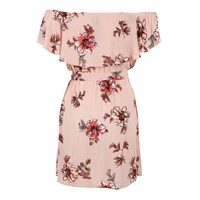 TFGS Women Boho Off The Shoulder Summer Beach Pink Dress Print Knee Length Slash Neck Short