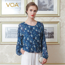 VOA Silk Blue Casual Chiffon Blouses Women O-Neck Print Long Sleeves Batwing Sleeve Camisetas Mujer Female Tops B1068