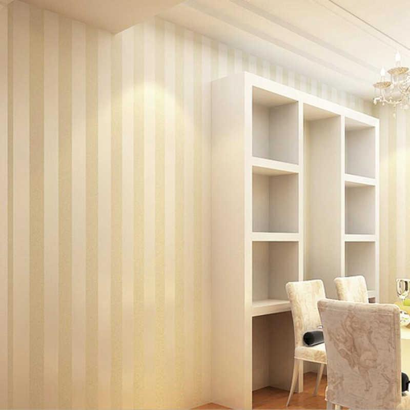 Papel tapiz papel tapiz de la sala de estar del dormitorio con rayas anchas no tejidas respetuoso con el medio ambiente fondo de pared beige