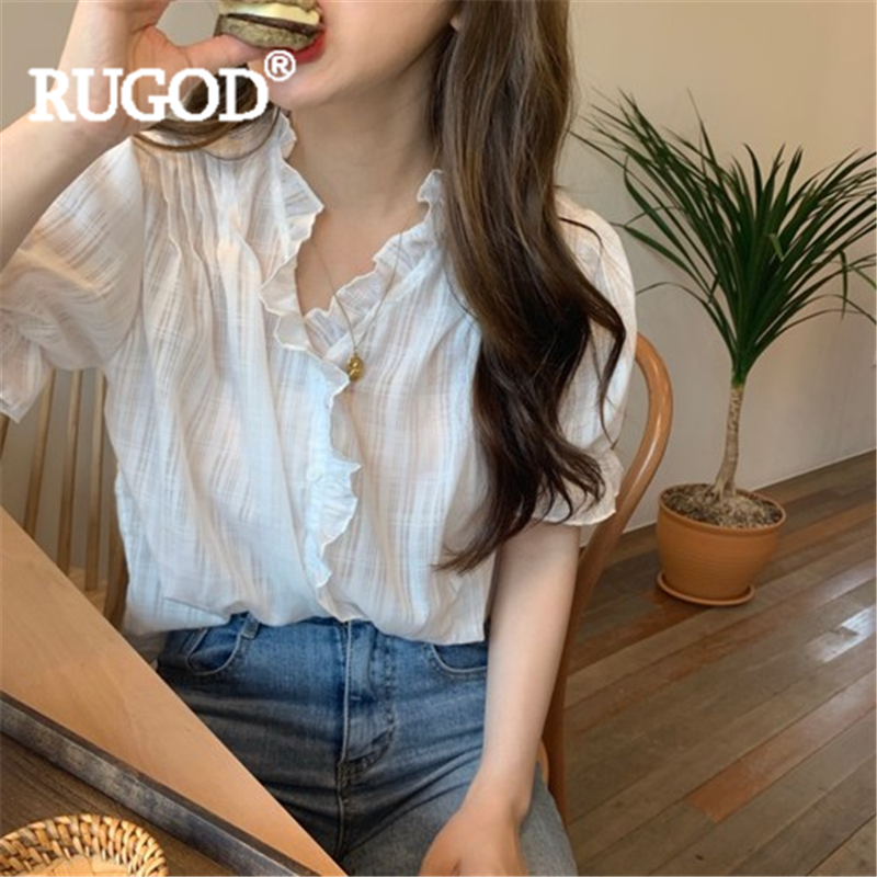 RUGOD Women Solid Blouse V Neck Flare Sleeve Stringy Selvedge Vintage Slim Shirt New Summer Fashion Female Elegant Korean Top