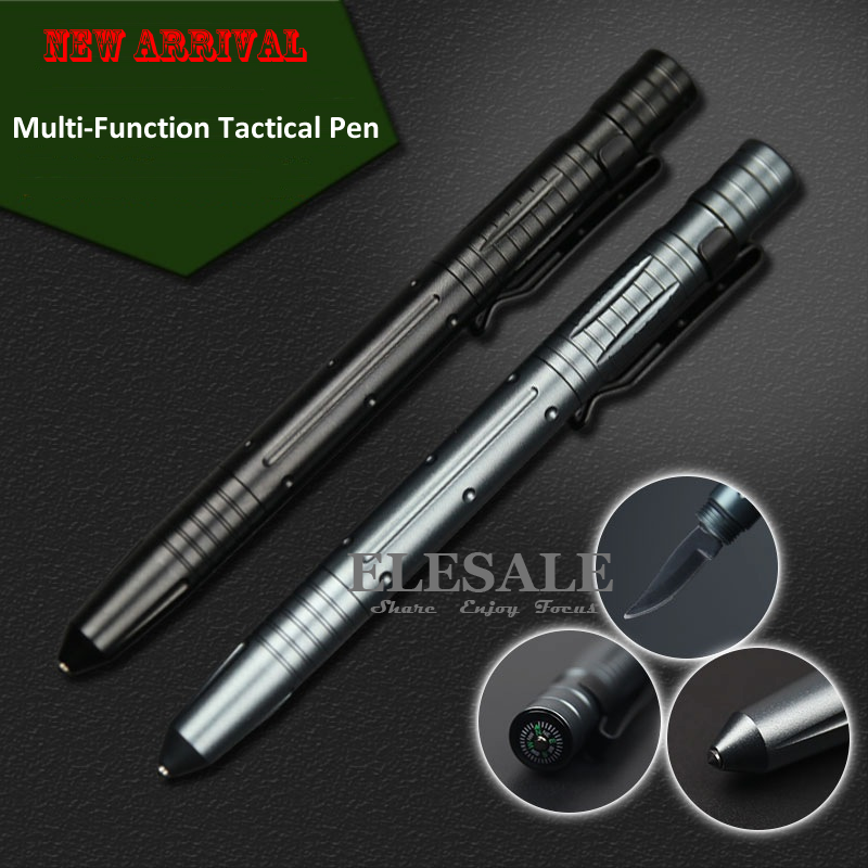 New Multi-Tool Tactical Pen Self Defense Weapon Glass Breaker With Compass Knife Tungsten Steel Head For Emergency Survival Kit titaner ed02 titanium tc4 tactical pen tungsten steel tip survival defense tool