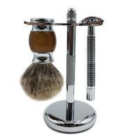 BellyLady 3 Pcs/ Set Manual Shaver Set Safe Razor Shaving Brush Stand Holder Set for Shaver