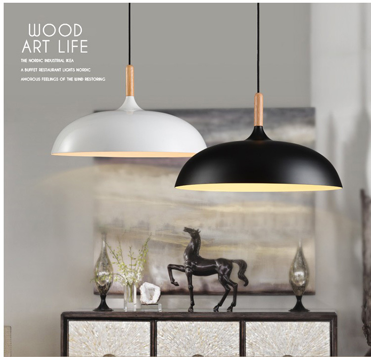 Dia 45cm Pendant Lights Wood And Aluminum Lamp Restaurant Bar Coffee Shop Dining Room E27/E26 Hanging Light Fixture WPL070 цена