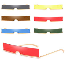 One-piece sunglasses women rimless red blue rectangular sun glasses for men vintage retro uv400 metal gafas de sol okulary