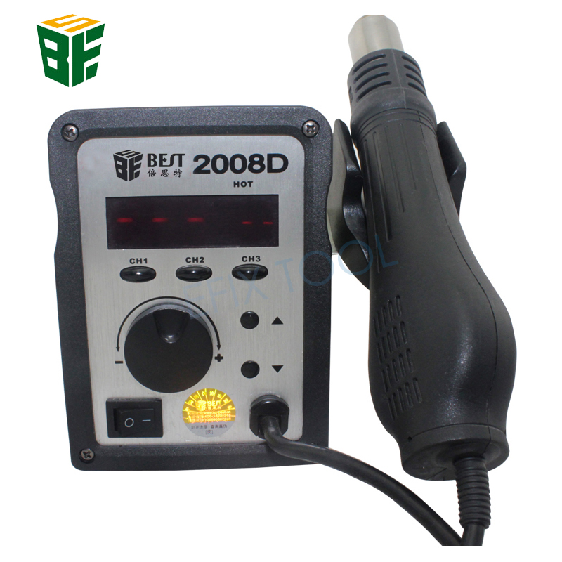 BST-2008D Temperature Adjustable Lead Screw Type Hot Air Gun BGA Rework Desoldering Station LED Digital Display Heat Gun saike 858 hot air gun rework station heat gun desoldering station