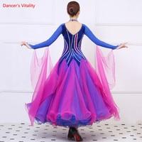Ballroom Dance Dresses Competition Clothes Luxury Diamond Long Sleeves Big Swing Dress Women Waltz Dance Performance Costumes