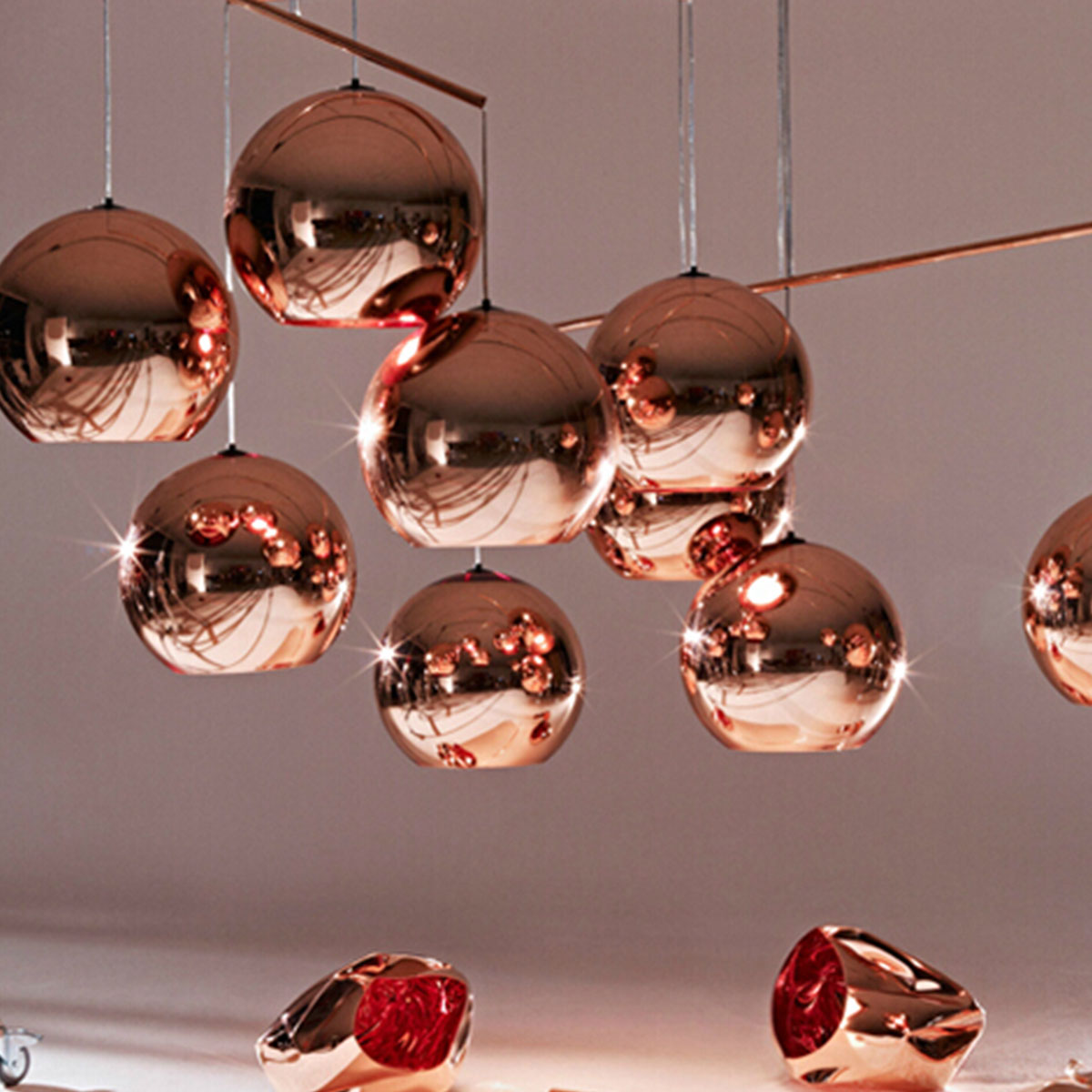 modern pendant lamps simple coppery ball shape pendant lamps creative staircase copper color glass pendant lights application lamps staircase