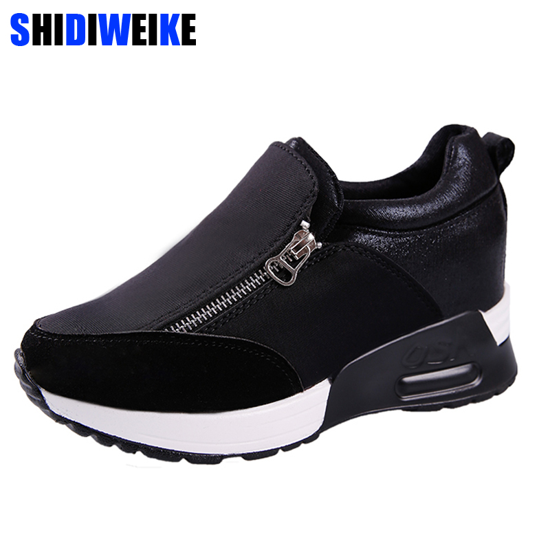 2019 Female casual shoes Thick Bottom Platform Wedges Shoes Woman Sneakers Spring Autumn Fashion Ladies black students shoes2019 Female casual shoes Thick Bottom Platform Wedges Shoes Woman Sneakers Spring Autumn Fashion Ladies black students shoes
