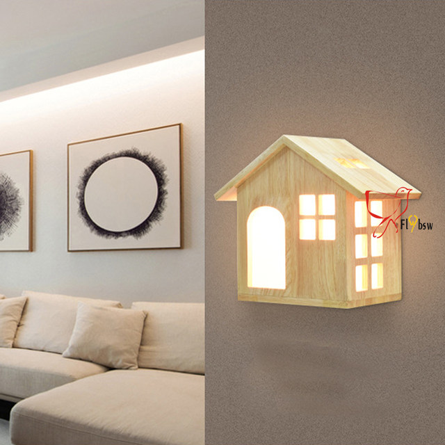 Nordic Vintage Solid Wood Wall Lamp,wooden House Shape Lampshade Indoor  Lighting Bedside Lamps LED Wall Lights With 12/24W Bulbs