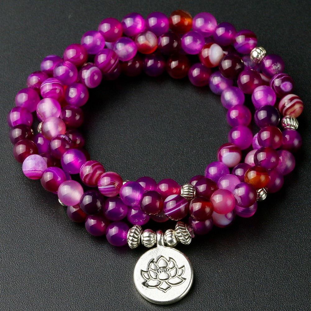 2019 New Fashion High Quality 6mm Rose Line Onyx Stone Beaded Bracelet Women Strand Bracelets Buddha Energy Yoga Jewelry