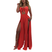 2017 New Summer Rompers Womem Jumpsuits Spaghetti Strap Sleeveless Sexy Hollow Out Jumpsuit High Spilt Bow Tie Long Jumpsuit