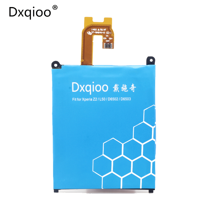Dxqioo Marque batterie fit pour SONY Xperia Z2 L50 L50W L50U L50T D6502 D6503 LIS1543ERPC