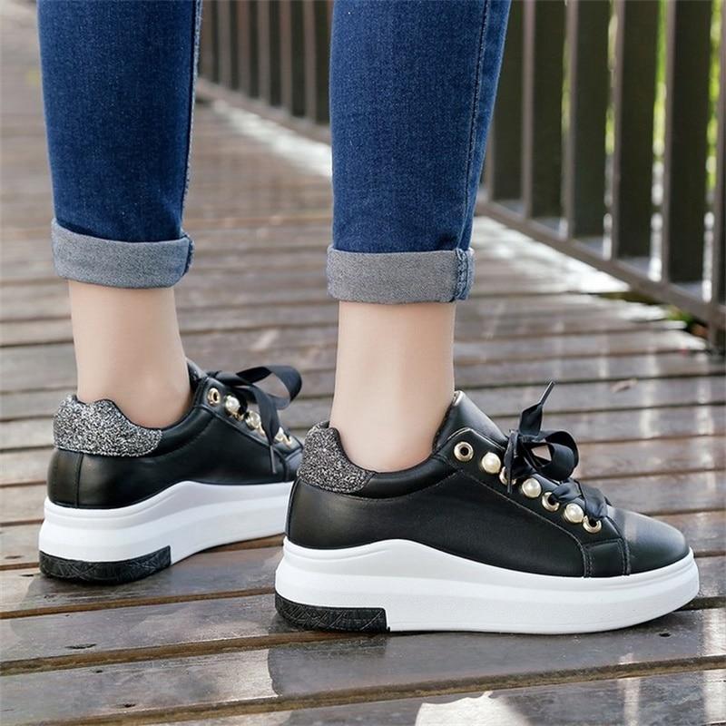 2018 Fashion Spring Women Platform Sneakers Soft Riband Bling Casual - Zapatos de mujer - foto 5