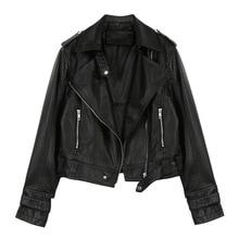 Женские кожаные куртки весна осень мото& байкерская куртка из искусственной кожи женская короткая куртка мотоциклетная байкерская куртка женская