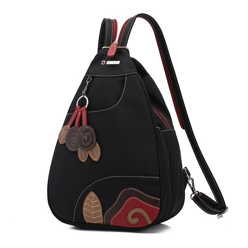 купить 2018Female Backpack Women Backpack Travel Waterproof Nylon Chest Leisure Backpack Oxford Cloth Lightweight Floral Zipper по цене 2220.8 рублей