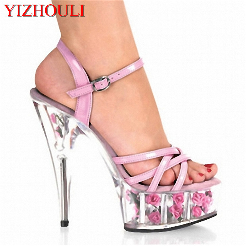 Sexy pink 15cm high with rose decoration platform, sexy sandals transparent crystal dancing shoesSexy pink 15cm high with rose decoration platform, sexy sandals transparent crystal dancing shoes