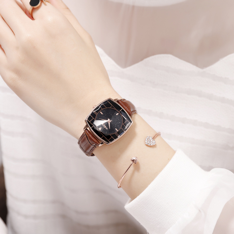 Square Ladies Wrist Watches Starry Sky Female Clock Leather Quartz Watch Elegant Women Watches Bracelet Watch Montre Femme 2018 (7)