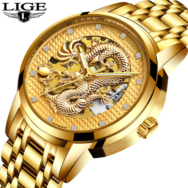 LIGE Dragon Skeleton Automatic Mechanical Watches For Men Wrist Watch Stainless Steel Strap Gold Clock Waterproof Mens watch цена