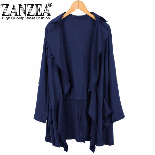 ZANZEA New Fashion Women Lapel Long Sleeve Trench Cardigan Lady Casual Solid Loose Long Outwear Chiffon Coat Plus Size Overcoat