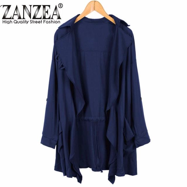 Zanzea nuevas mujeres de solapa de manga larga trinchera cardigan sólidos casuales larga outwear capa de la gasa más el tamaño de abrigo