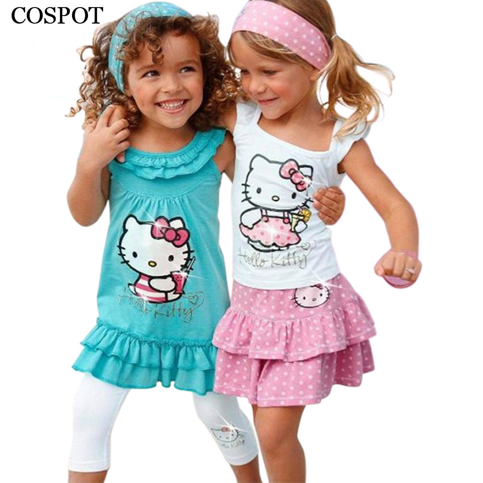 Free Shipping High Quality Summer Hello Kitty Baby Girl Suits Kids Sets Headband Dress Pants Children