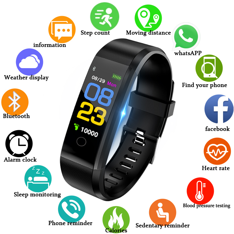 Men's Watches Bangwei Smart Bracelet Heart Rate Blood Pressure Pedometer Smart Watch Sport Waterproof Digital Men Women Led Watch Bluetooth