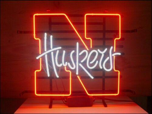 Custom Made Huskers Glass Neon Light Sign Beer Bar
