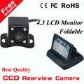 """Hd CCD камера заднего вида + 4.3 """" HD 800 * 480 монитор зеркала автомобиля зеркало заднего вида монитор CCD автостоянка резервного копирования камера"""