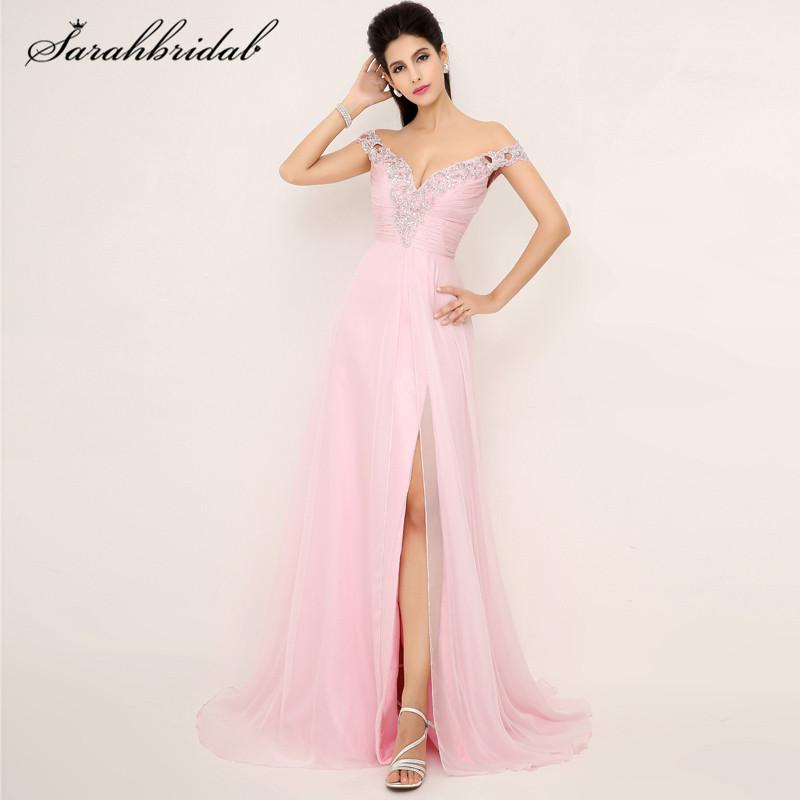 Elegant Sexy Pink Chiffon Long   Prom     Dresses   V-Neck Split Side Backless Off-The Shoulder Court Train Evening Party Gown Hot XU013