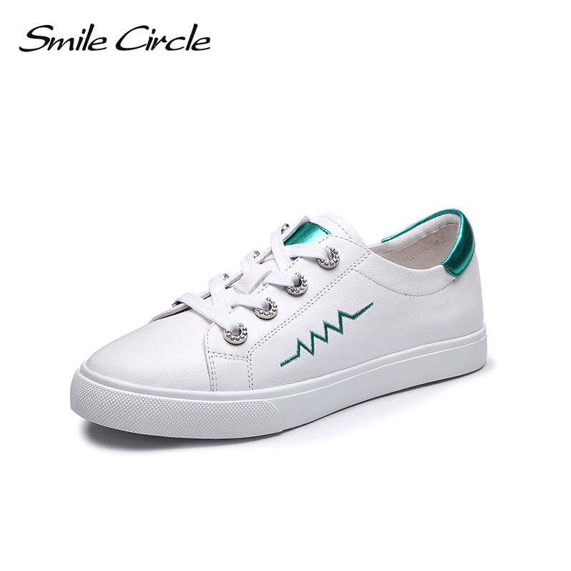 Smile Circle Genuine Leather Sneakers Women Round toe Lace up Flat Shoes Women White black casual