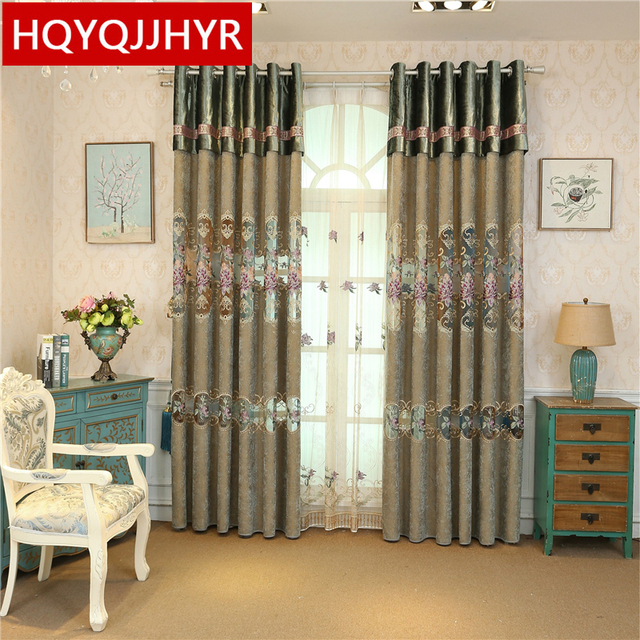 High grade embroidered villa curtains for Living Room windows ...