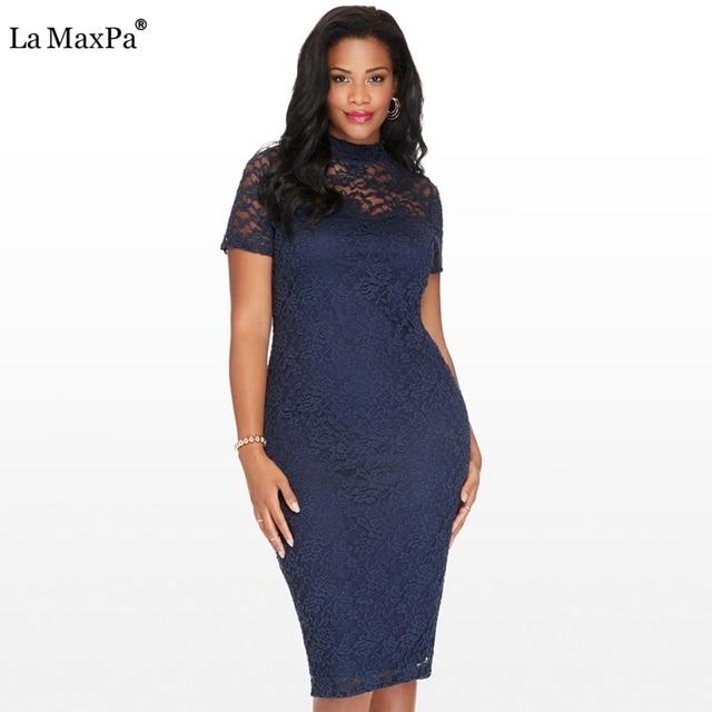 18c0a8a0ad4cb Artı boyutu 6xl elbise için kadın Zarif ofis elbisesi Vintage yaz 4xl 5xl  Kalem çalışma Bodycon parti dantel