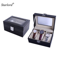 Starlord Brand Watch Box Small 3 Mens High Quality Black PU Leather Display Glass Top Jewelry