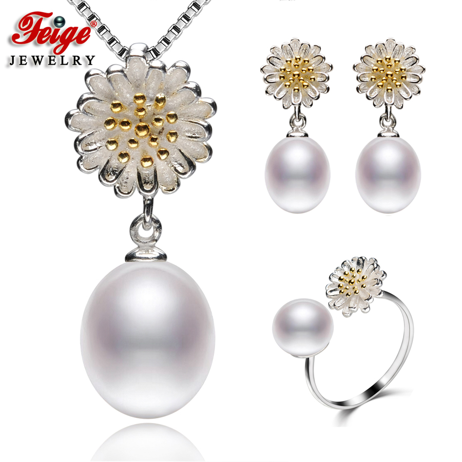 FEIGE 8-9MM Rice-shape White Freshwater Pearl Sets Genuine High-quality 925 Sterling Silver Jewelry Set For Women Pearl Jewelry