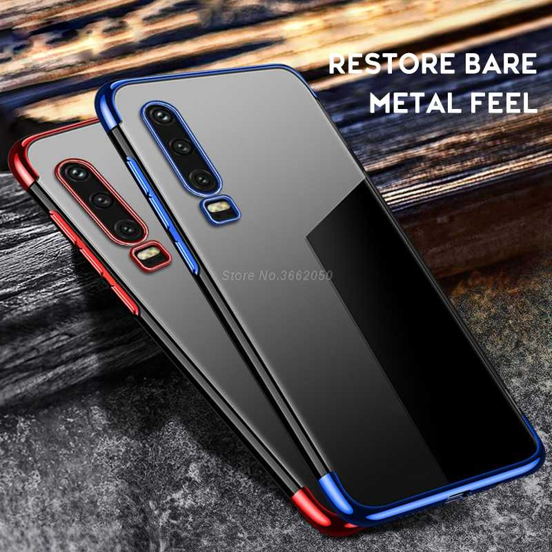 Silicone Case For Huawei P30 P20 Lite P10 Lite Plating Case Protective Bumper Cover For Honor 20 Pro 10 Lite V20 V10 8C 8X