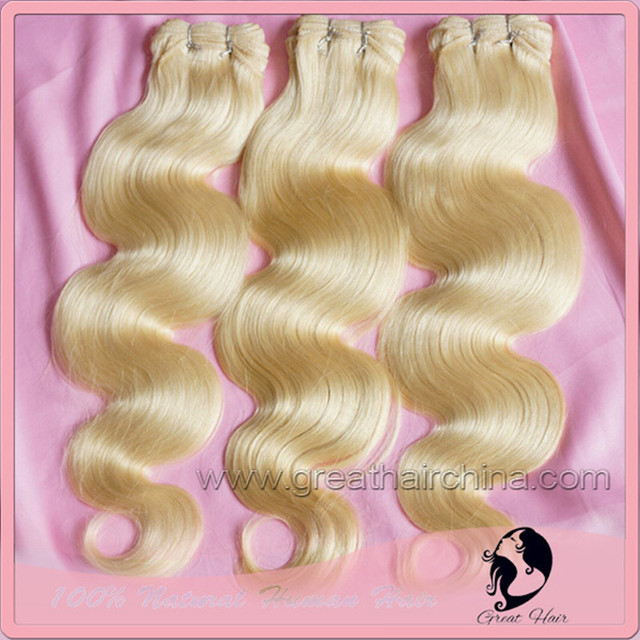 """clip Slavic Real Hair Blonde Body Wave Natural Humano Hair Extension, 16""""-26"""" 613# Remy Hair Weaving 1 Piece/Lot, Free Shipping"""