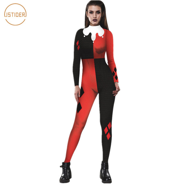 Istider Harley Quinn Jumpsuit Women Sexy Tight Bodysuit Black Red