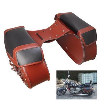 Universal Brown available big size motorbike side pouch rivet moto luggage bag for honda suzuki yamaha motorcycle Saddle