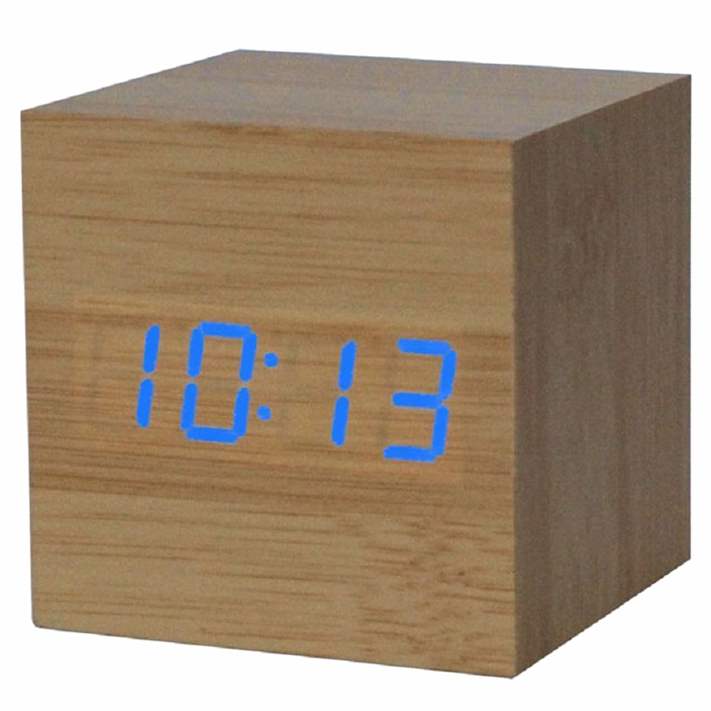 Alarm clock / digital clock Wooden table with a USB port, works with AAA batteries