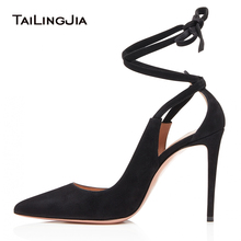 цена Elegant Pointed Toe High Heel Black Pumps Beige Dress Shoes for Women Ankle Wraps Evening Stiletto Heels Ladies Summer Shoes онлайн в 2017 году