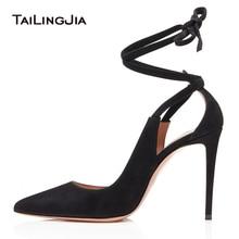 цена на Elegant Pointed Toe High Heel Black Pumps Beige Dress Shoes for Women Ankle Wraps Evening Stiletto Heels Ladies Summer Shoes