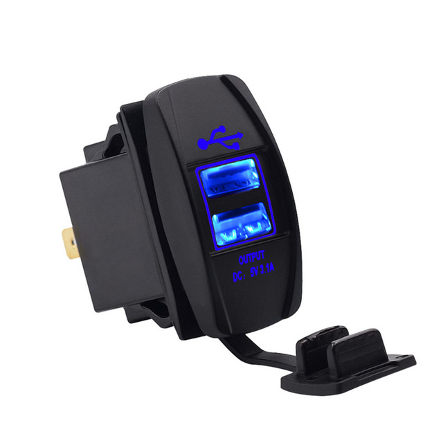 Motorcycle Modified Car Charger Type Double USB Charging Waterproof 3.1A Auto Charger LED Lamp 12-24V