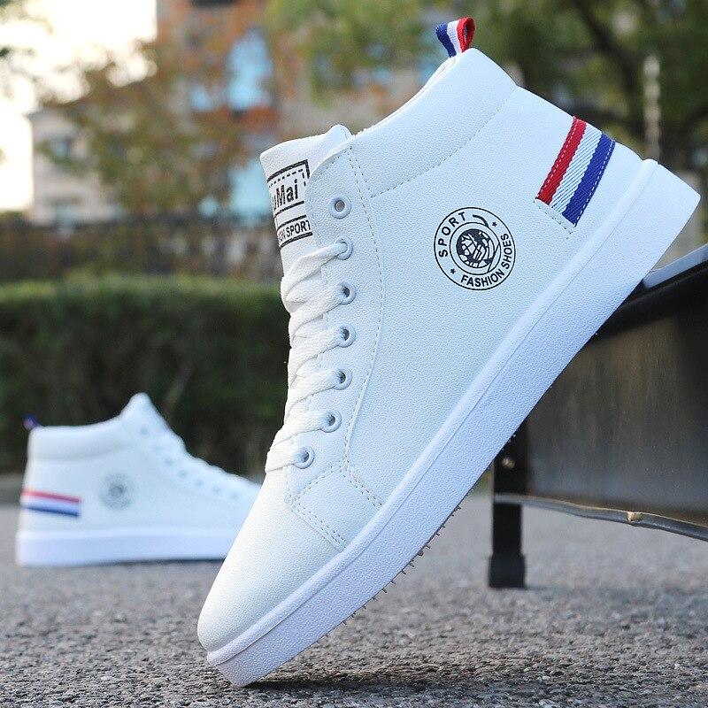 Мужские кроссовки для скейтборда, высокие кроссовки, дышащая Белая обувь, мужская обувь для прогулок на улице