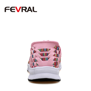 Image 3 - FEVRAL Brand Woman Woven Shoes Spring Flats Handmade Breathable Shallow Mouth Lazy Loafers Slip Resistant Soft Casual Shoes