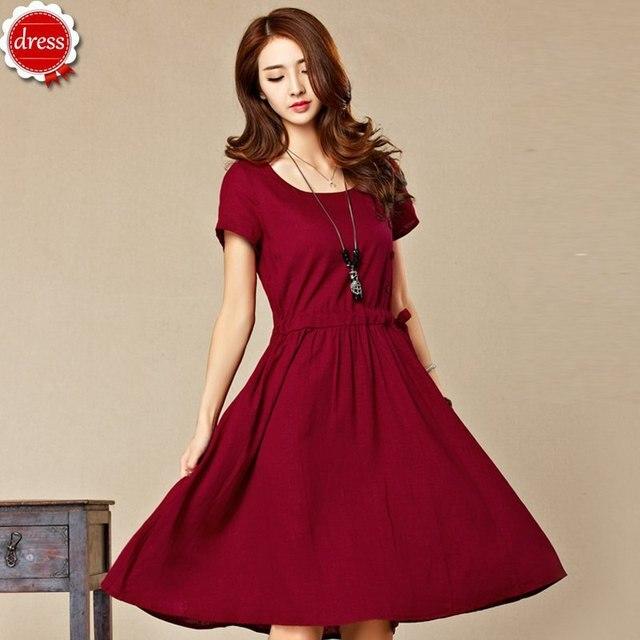 6504db1cc Linen Knee Length Dress Short Sleeve Solid Button Linen Casual Dresses  Pocket Hygroscopic Original Textiles Vestidos Feminino