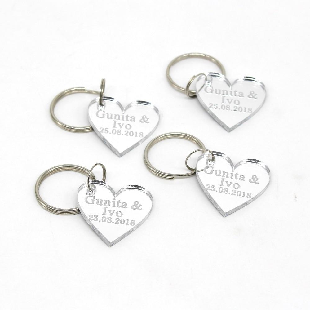 Personalised Engraved Love Heart Keyring Key Ring Keychain Wedding Birthday Gift