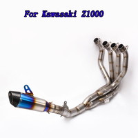 For Kawasaki 2010 2017 Z1000 Motorcycle Modified Stainless Steel Exhaust Muffler Front Pipe Tube Full System Blue